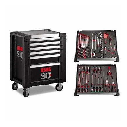 RACING ROLLER CABINET - 6 DRAWERS WITH ASSORTMENT FOR MAINTENANCE WITH 104 TOOLS