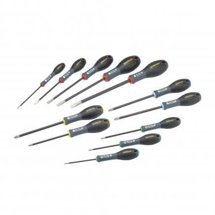 12 Fatmax Diamond Tip Screwdriver Set - Std-Str/elet-Ph-T10-T15-T20