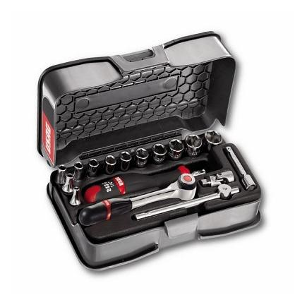 """Assortment with hexagonal sockets and 1/4"""" ratchet in ABS case (17 pcs.)"""