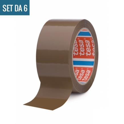 Set of 6 Carton Sealing Tape, Noisy unwinding, Brown Color