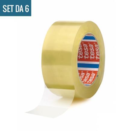 Set of 6 Carton Sealing Tape Noisy unwinding - Transparent