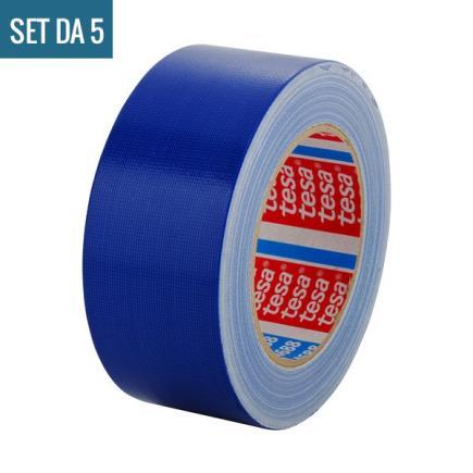 Set da 5 Nastro telato standard rivestito in polietilene blu 25 mt x 50 mm