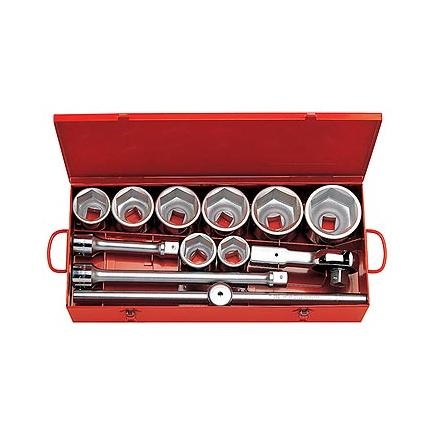 "Assortment in sheet steel box with hexagonal sockets and 1"" ratchet (12 pcs.)"