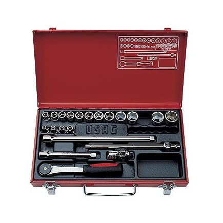 """Assortment in sheet steel case with hexagonal sockets and 3/8"""" ratchet (21 pcs.)"""