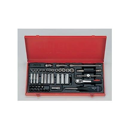 """Assortment in sheet steel box with 1/4"""" ratchet (44 pcs.)"""