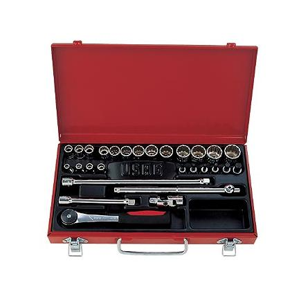 "Assortment in sheet steel case with hexagonal sockets and 3/8"" ratchet (28 pcs.)"