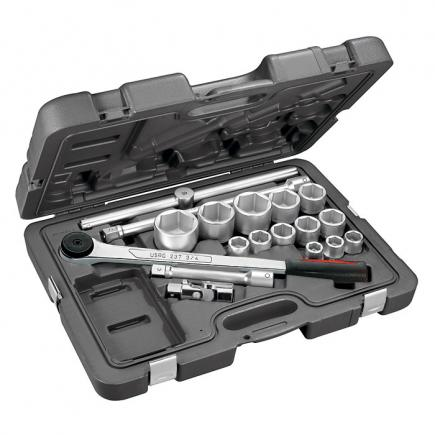 "Assortment with hexagonal sockets and 3/4"" ratchet in ABS case (18 pcs.)"