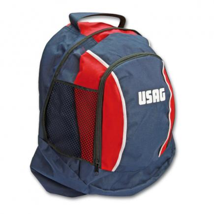 Red/blue multipocket backpack