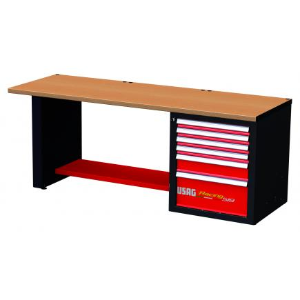 RACING workbench with wooden top - 6 drawers