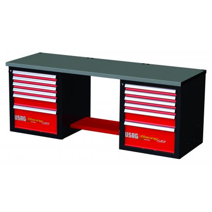 RACING workbench with sheet steel top - 12 drawers