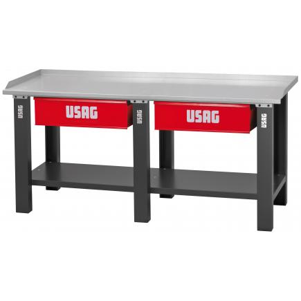 Workbench with sheet steel top - 2 drawers