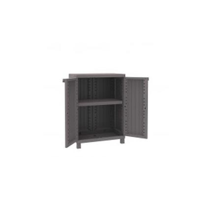 2 Doors Cabinet Faux Wood finishing 68x39x91,5 - 1 adjustable inner shelf - Dove/Grey