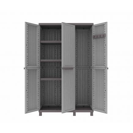 3 Doors Cabinet Faux wood finishing 102x39x170 - 3 adjustable inner shelves