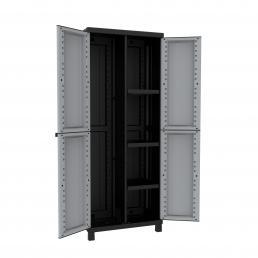 Twist Black 3680 - 2 Doors Cabinet 68x39x170 - 3 adjustable inner shelves - 1 broom holder