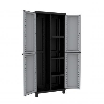 2 Doors Resin Cabinet 68x39x170 - 3 adjustable inner shelves - 1 broom holder
