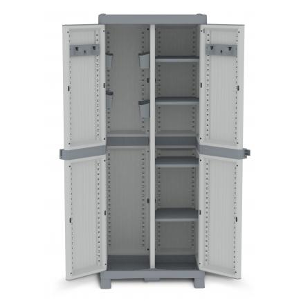 2 Doors Outdoor Cabinet 70x43,8x181,8 - 4 adjustable inner shelves - 2 broom holder - 4 bins