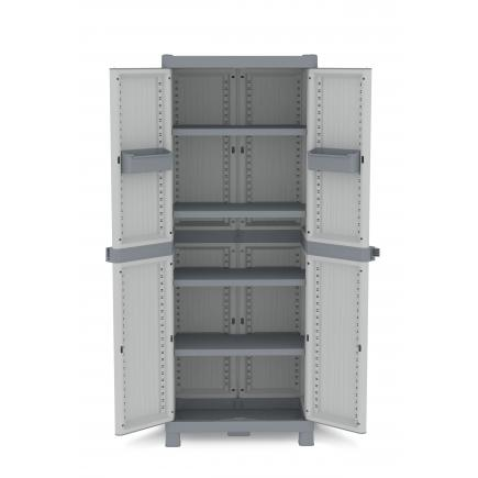2 Doors Outdoor Cabinet 70x43,8x181,8 - 4 adjustable inner shelves - 2 bins