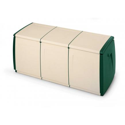 Multifuctional plastic container 360 l. 139x54x57 - 3 modules Green-beige
