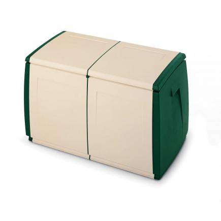 Multifuctional container 240 l. 97x54x57 - 2 wheels Green-beige
