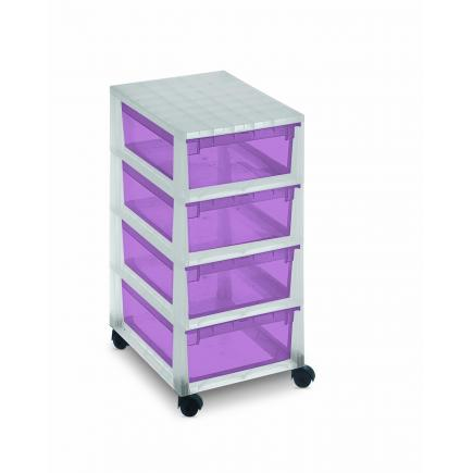 Drawer cabinet with swiveling wheels 29,6x39x64,2 - 4 violet drawers