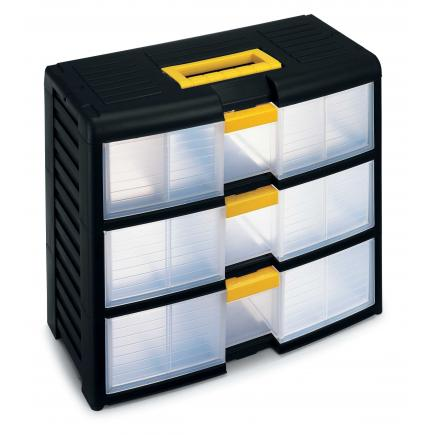 Modular portable drawer cabinet with locking system - 3 drawers