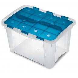 Home Box - Multifunctional box with hinged lid Ocean/Trasparent