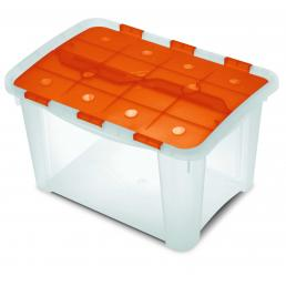 Home Box - Multifunctional box with hinged lid Orange/Trasparent