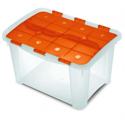 Multifunctional box with hinged lid Orange/Trasparent