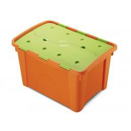 Home Box 40 Kids - Contenitore 40 lit. 37,2x53,9x33,3 con coperchio - Arancio/Verde