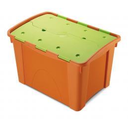 Home Box 60 Kids - Contenitore 60 lit. 41,2x59,5x38,5 con coperchio - Arancio/Verde