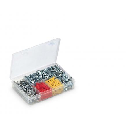 Organizer in plastica con coperchio - 5 scomparti trasparente