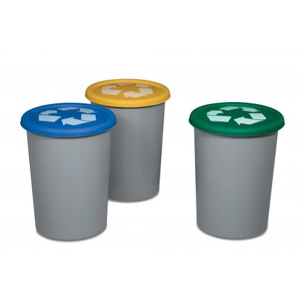 Set of 3 outdoor resin bins for waste collection 29 l.