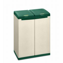 Eco Cab 2 - 2 door cabinet for differentiated waste collection - Green/sand