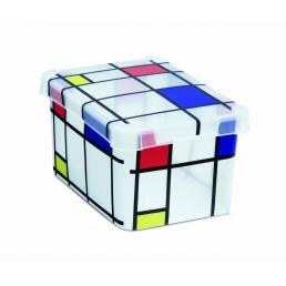 Milano Box S6 Mondrian - Multipurpose box with lid 6 l. - Pattern print
