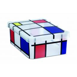 Milano Box S12 Mondrian - Multipurpose box with lid 12 l. - Pattern print