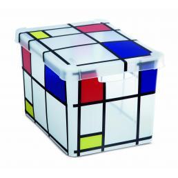 Milano Box S20 Mondrian - Scatola multiuso 20 lit. con maniglie - Disegno fantasia