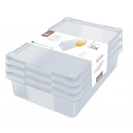 Set of 3 multipurpose transparent boxes 24 l.