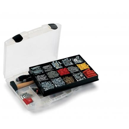 Tool case with organizer tray for small parts 39,2x34,4x8