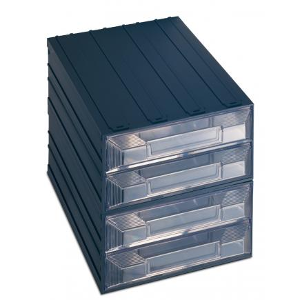 Drawer small parts organizer with label holder, 4 rectangular drawers 24,9x36,6x25