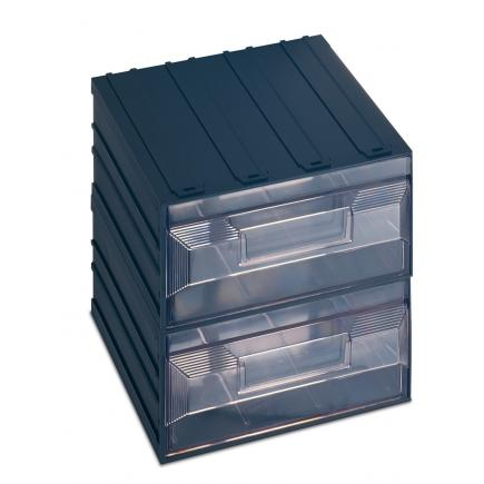 Drawer small parts organizer with label holder, 2 rectangular drawers 20,8x22,2x20,8