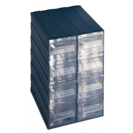 Drawer small parts organizer with label holder, 8 rectangular drawers 24,9x31x37,5