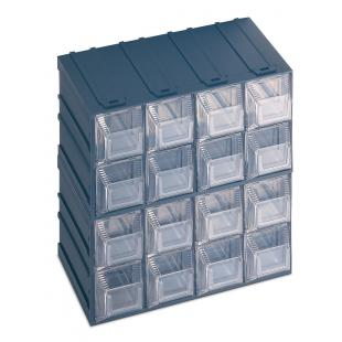 Drawer small parts organizer with label holder, 16 drawers 20,8x13,2x20,8