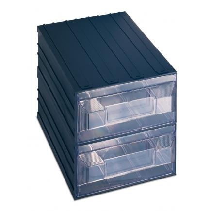 Drawer small parts organizer with label holder, 2 rectangular drawers 24,9x36,6x25