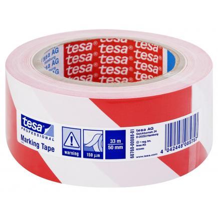 Nastro adesivo per segnalazione di superfici in PVC bianco/rosso