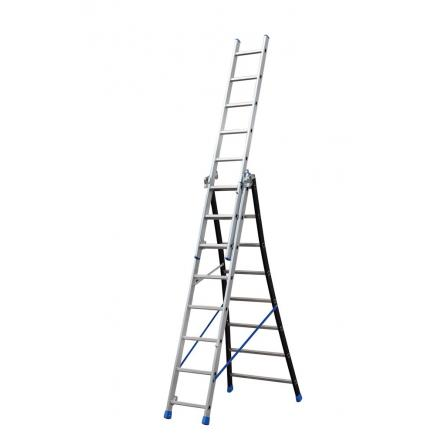 3 section extending ladder with flared base