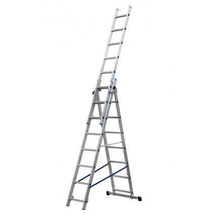 3 section extending ladder, parallel uprights