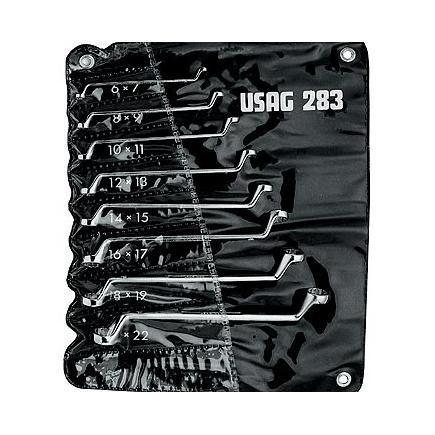 Set of 8 offset bihexagonal ring wrenches