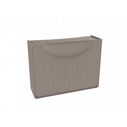 Overlapping plastic shoe storage - Capacity 3 pairs -Taupe/grey Rattan