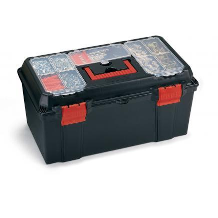 Cassetta portautensili con vassoio e organizer sul coperchio - Nera/Rosso