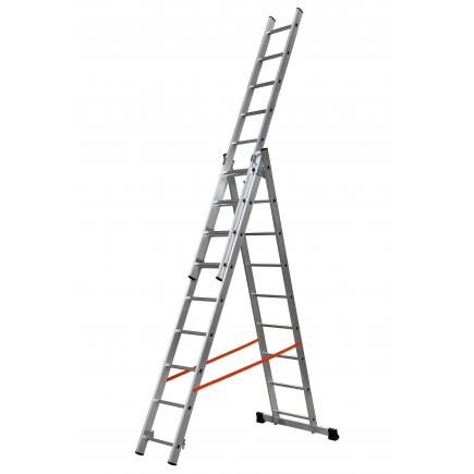 Three sections convertible ladder, parallel uprights